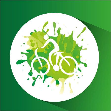 cycling symbol label laurel wreaths vector illustration eps 10