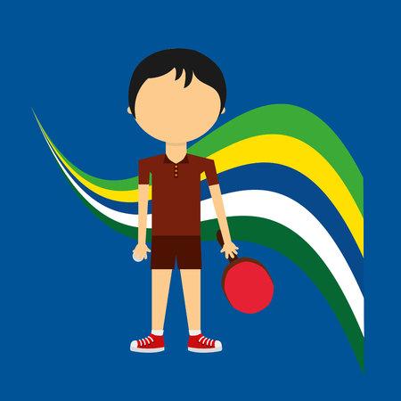cartoon table tennis player  label vector illustration Illustration