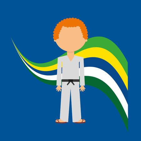 cartoon taekwondo player n label vector illustration