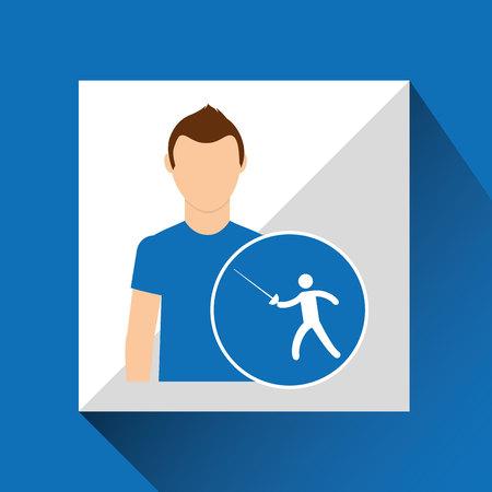 athlète homme escrime sport graphique illustration vectorielle