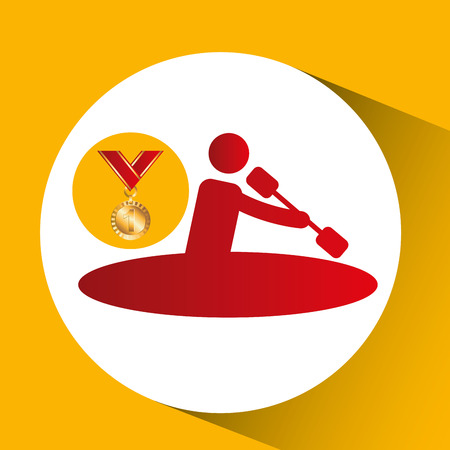 gold medal canoe rowing vector illustration