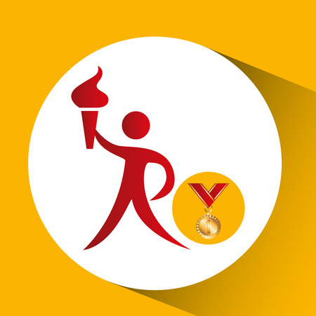 relay: gold medal athlete torch icon vector illustration