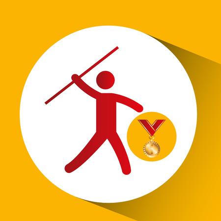 lanzamiento de jabalina: medalla de oro jabalina lanzar iconos ilustración vectorial