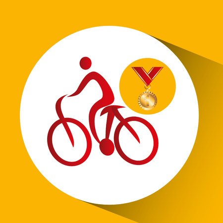 arbitro: Ilustración de vector de bicicleta de montaña de medalla de oro Vectores