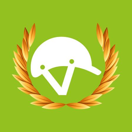 gold record: helmet sport  badge vector illustration