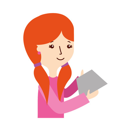 news reader: young woman with letter character vector illustration design