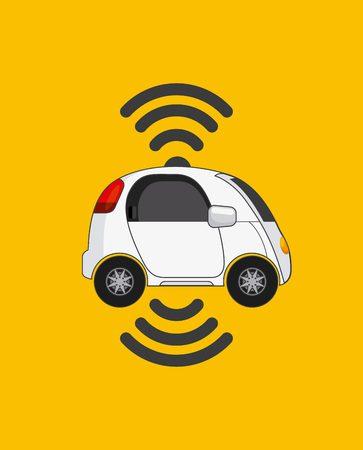 vehículo autónomo de coche con ondas inalámbricas sobre fondo amarillo. ecología, concepto inteligente y techonology. ilustración vectorial