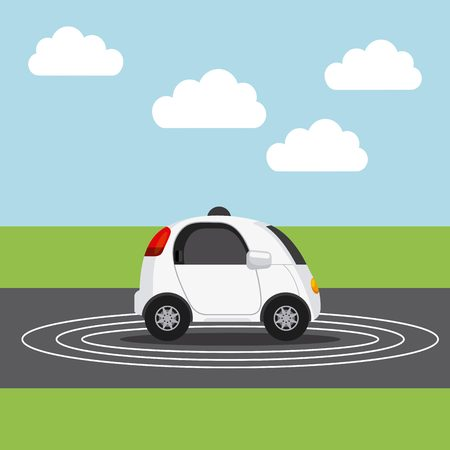 autonomous car vehicle over street. ecology,  smart and techonology concept. landscape background. vector illustration Illustration