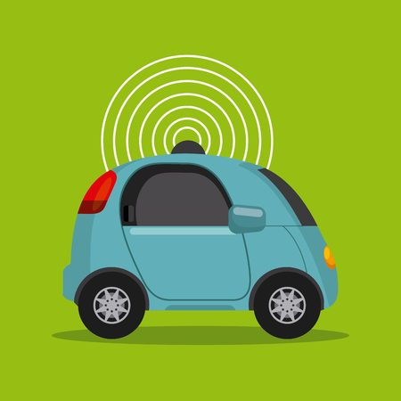 autonomous car vehicle with wireless waves over green background. ecology,  smart and techonology concept. vector illustration Illustration