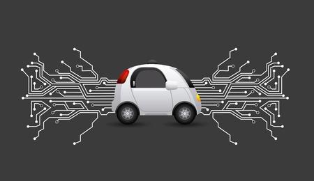 검정 배경 위에 회로 보드와 자치 자동차입니다. 스마트 및 기술 개념입니다. 벡터 일러스트 레이 션