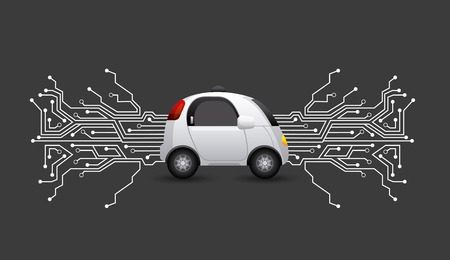 Autonoom auto voertuig met printplaat op zwarte achtergrond. Slim en techonologie concept. Vector illustratie