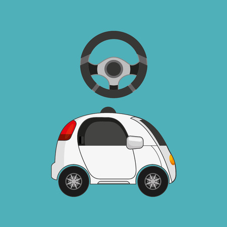autonomous car vehicle with steering wheel icon over blue background. colorful design. vector illustration Illustration