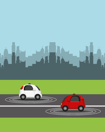 autonomous cars vehicles over street and city background. ecology,  smart and techonology concept. vector illustration Illustration