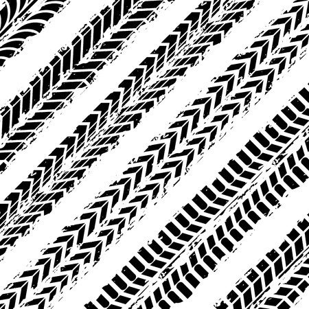 background of wheel prints in black and white colors. vector illustration Illustration