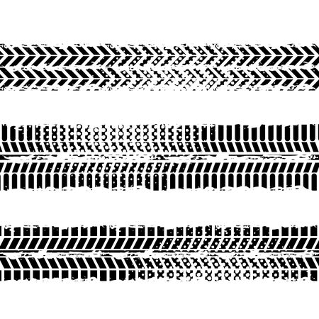background of wheel prints in black and white colors. vector illustration 向量圖像