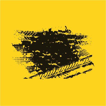 tread: wheel print design over yellow background. vector illustration Illustration