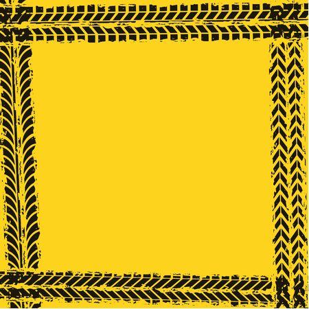 tread: frame of black wheel prints in yellow background. vector illustration