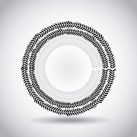 tread: wheel print in circle shape over white background. black and white design. vector illustration