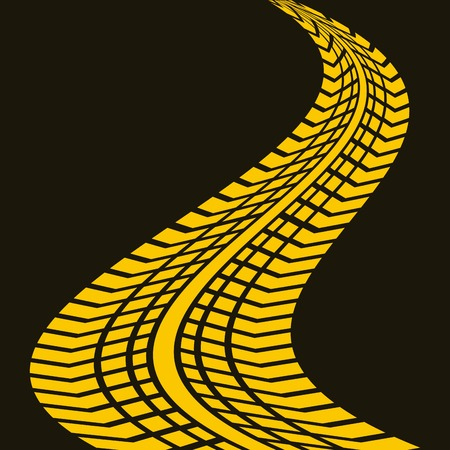 yellow wheel print design over black background. vector illustration Illustration