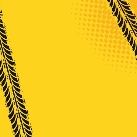 tread: black wheel prints in yellow background. vector illustration Illustration