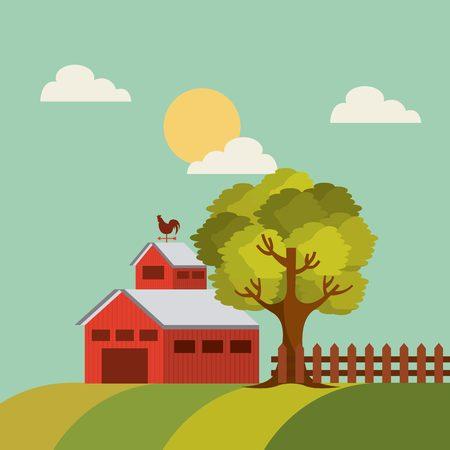 red barn on farm landscape. colorful design. vector illustration