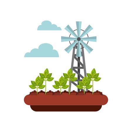 Landscape with windmill turbine structure over white background. Colorful design. vector illustration