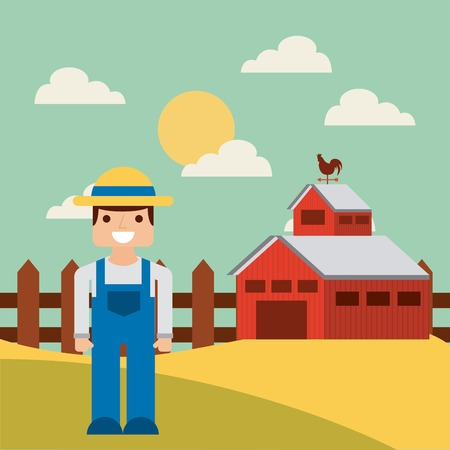 happy farmer: happy farmer and red barn on farm landscape. colorful design. vector illustration