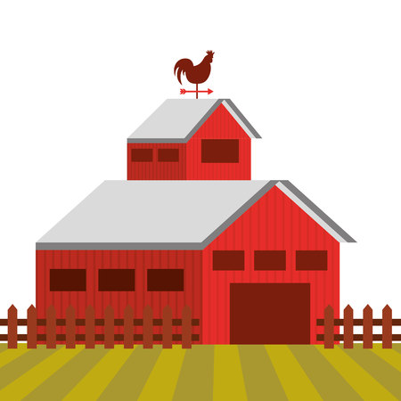 cultivating: red barn on farm landscape. colorful design. vector illustration
