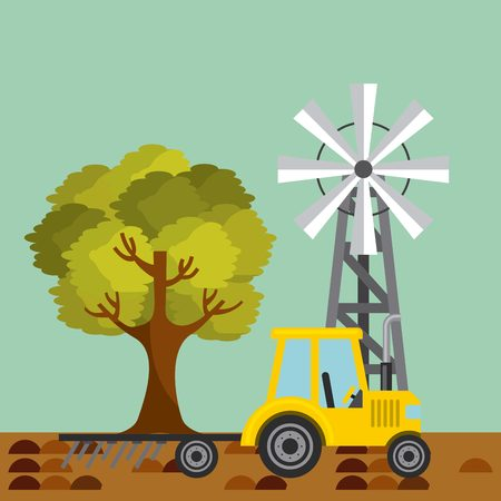 yellow Tractor plowing earth and wind turbine in farm landscape. colorful design. vector illustration Illustration