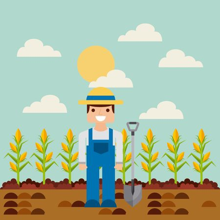 happy farmer: happy farmer with harvest of corn on farm landscape. farm and agriculture design. vector illustration