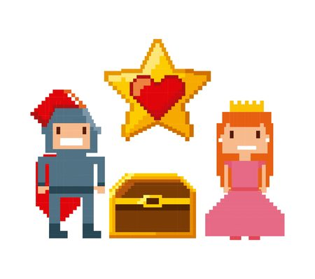 obsession: princess and knight characters and treasure over white background. videogame interface concept. colorful design. vector illustration Illustration