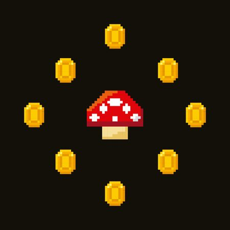 fungus: pixel fungus icon and gold coins around over white background. video game interface design. colorful design. vector illustration