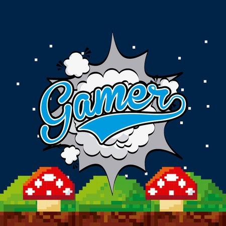 fungus: pixel fungus icons .Video game gamer design. Colorful design. vector illustration