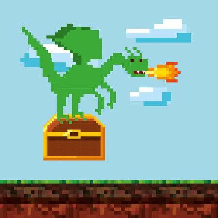 video icons: pixel dragon throwing fire over landscape landscape. video game interface design. colorful design. vector illustration