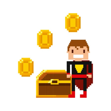 pixel superhero character and treasure with gold coins over white background. Video game interface design. Colorful design. vector illustration