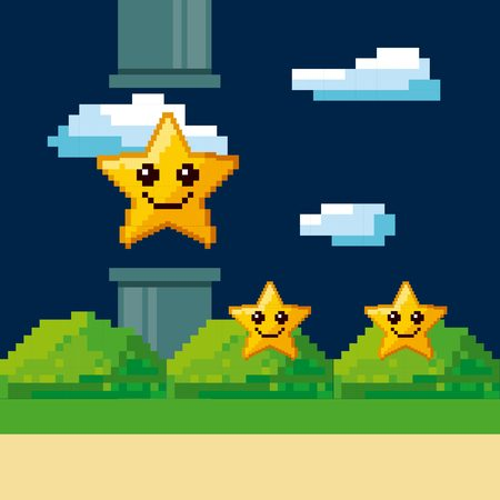 pixel star with happy face. Video game interface design. Colorful design. vector illustration