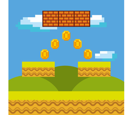 videogame: pixel videogame interface with gold coins. . Colorful design. vector illustration