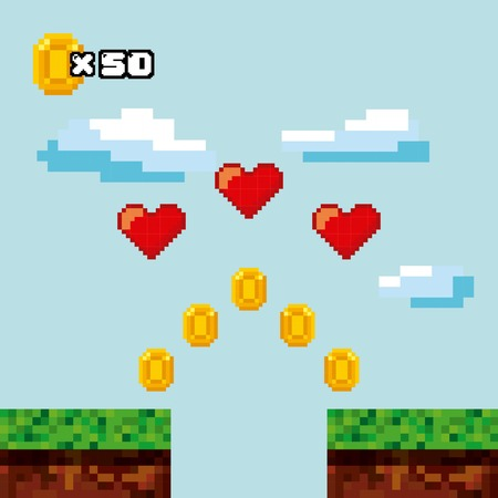 pixel landscape with gold coins and red hearts. Video game interface design. Colorful design. vector illustration