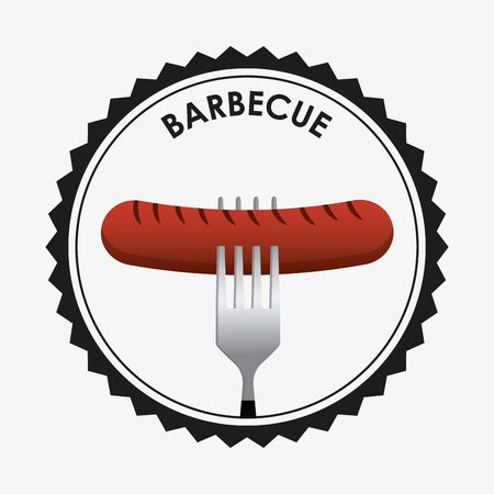 roasted: seal stamp with fork with sausage icon inside over white background. barbecue design. vector illustration