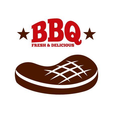 carne asada: filete de carne sobre fondo blanco. barbacoa, fresca y deliciosa. ilustración vectorial Vectores