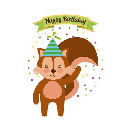 ardilla: tarjeta de feliz cumpleaños con cute ardilla. diseño colorido. ilustración vectorial Vectores