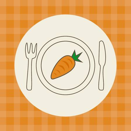 veg: plate with  carrot vegetable and fork and knife over white background. vector illustration