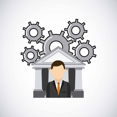 bank icon and gears wheels with business man over white background. vector illustration Illustration