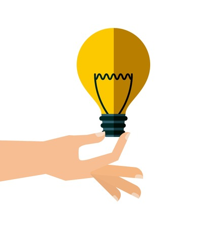 bombillo ahorrador: human hand holding a yellow bulb light icon over white background. vector illustration