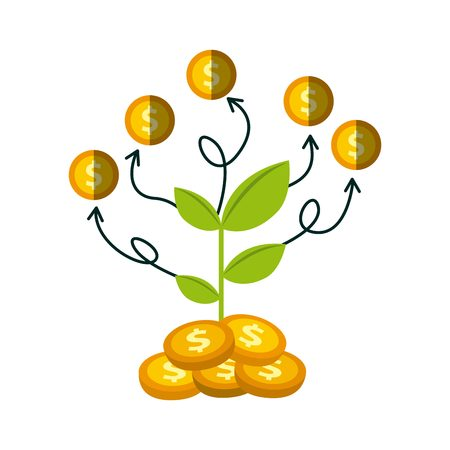 green economy: green plant and gold money coins over white background. growth funds economy concept. colorful design. vector illustration