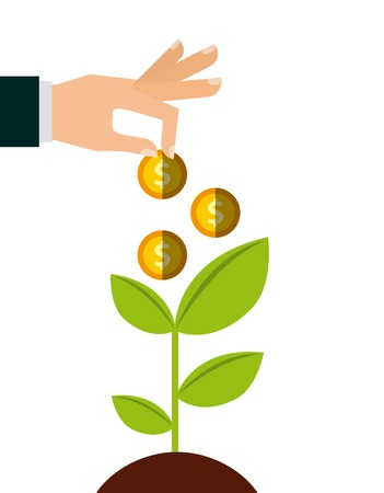 green economy: green plant and hand with gold money coins over white background. growth funds economy concept. colorful design. vector illustration Illustration