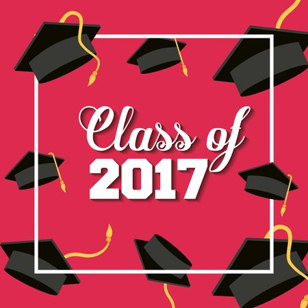 celebrate cartoon: card of class 2017 with graduation hats over red background. colorful design. vector illustration