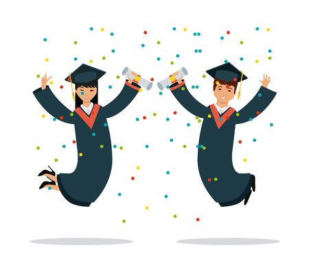 graduate woman and man jumping over white background. colorful design. vector illustration Illustration