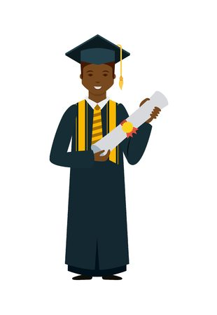 cartoon graduate man holding a diploma over white background. colorful design. vector illustration