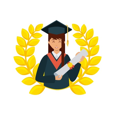 decorative wreath of gold leaves and cartoon graduate woman holding a diploma over white background. colorful design. vector illustration
